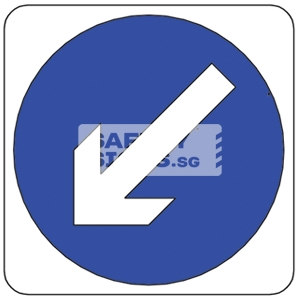 KEEP LEFT, Aluminum sign.
