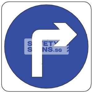 TURN RIGHT AHEAD, Aluminum sign, Reflective.