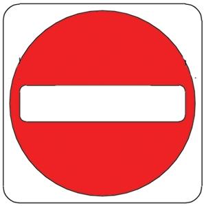 NO ENTRY, Aluminum sign, Reflective.