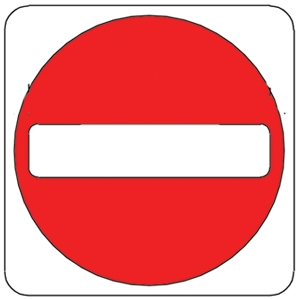 NO ENTRY, Aluminum sign.