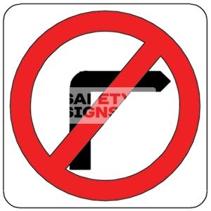 NO RIGHT TURN, Aluminum sign, Reflective.