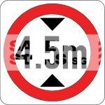 4.5m Height Limit, Aluminum sign, Reflective.