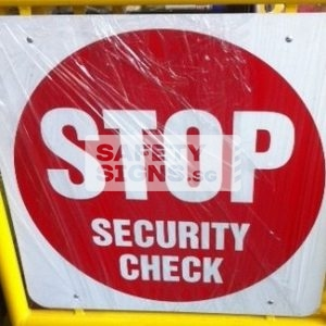 Stop Security Check. Aluminum Sign.