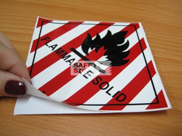 Flammable Solid. Vinyl Sticker.