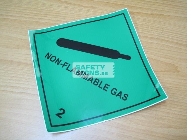 Non-Flammable Gas 2. Vinyl Sticker.