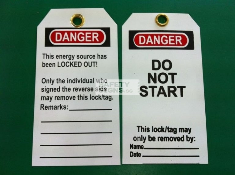 Danger Do not Start Lock Out Tag