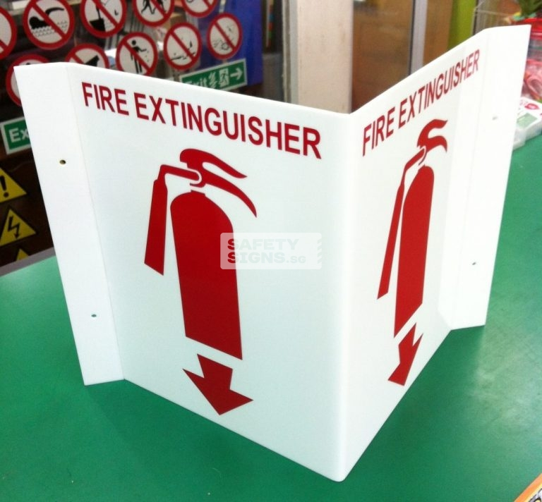 Fire Extinguisher Bent 2 sided. Luminous. Acrylic - Suitable for indoor use.
