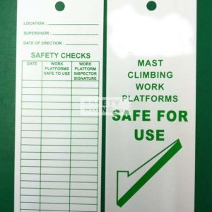 Customized SAFE FOR USE scaffold inspection tagging