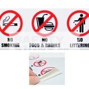 No Smoking No Food & Drinks No Littering, Vinyl Sticker.