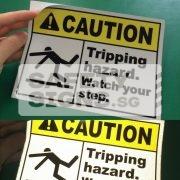 Caution Tripping Hazard. Watch your step. Reflective vinyl sticker
