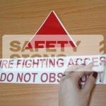 Fire Fighting Access Do Not Obstruct. Vinyl Sticker.