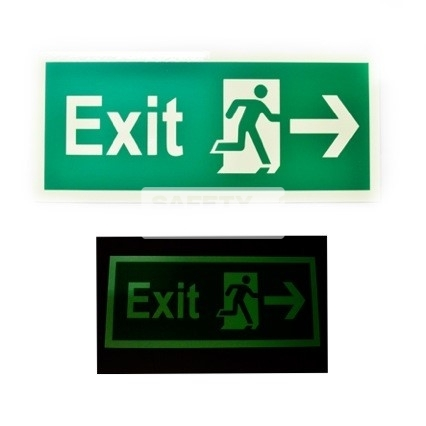 Exit - Luminous - Right . Acrylic - Suitable for indoor use.