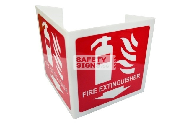 Fire Extinguisher Bent 2 sided. Non-Luminous. Acrylic - Suitable for indoor use.