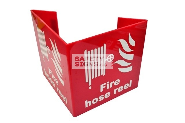 Fire Hosereel Bent 2 sided. Non-Luminous. Acrylic - Suitable for indoor use.